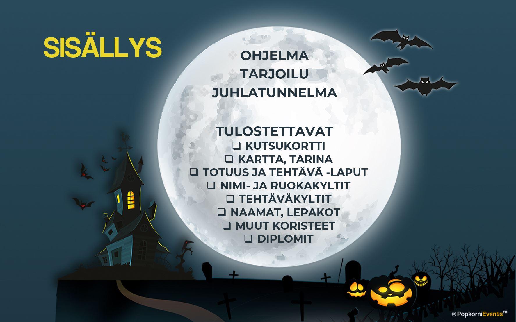Halloween juhlat lapsille, digitaalinen juhlapaketti, sisältö