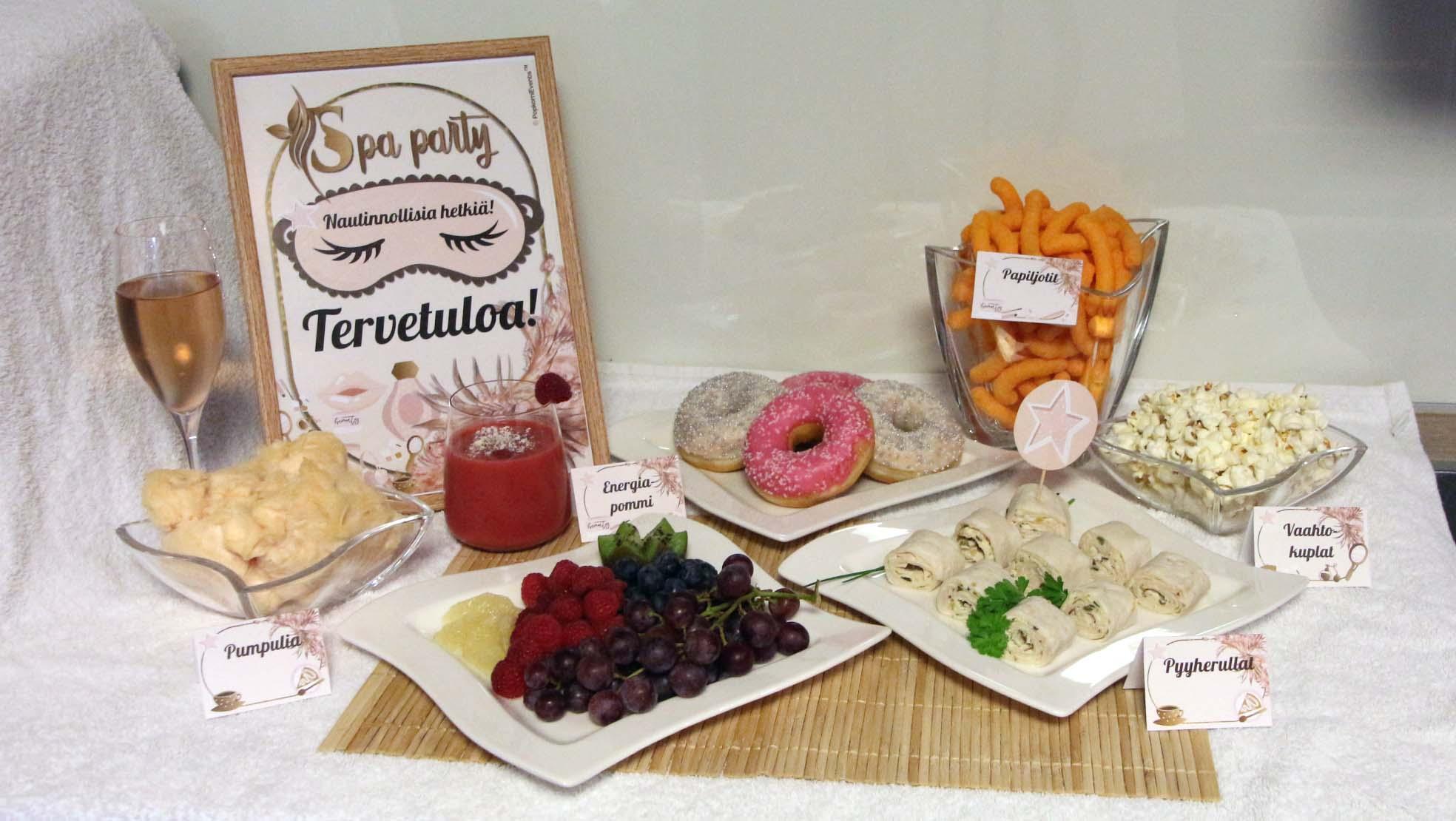 Spa Party digitaaliset lastenjuhlat ruokapöytäidea
