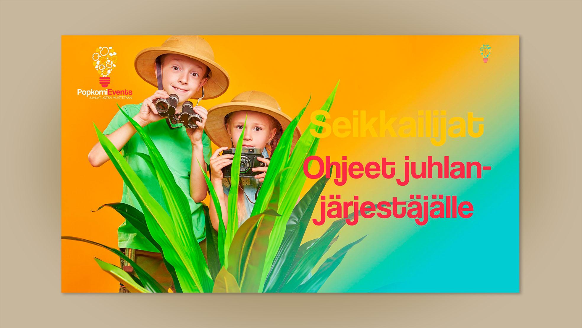 Popkorni Events Seikkailijat digitaalinen juhlapaketti selviytyjät tyyliin lastenjuhlat